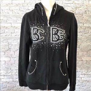 BCBG Maxzaria Hoodie Black Sweatshirt Bling Studs